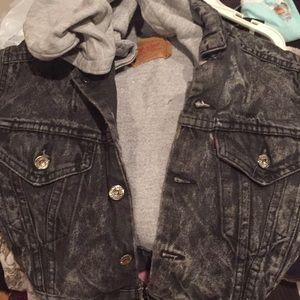 6 8? S VINTAGE Boy Levi denim sweat hoodie jacket